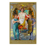 Labour Day Souvenir Laborers with Lady Justice Poster