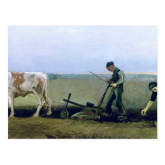 Labourer and Peasant Planting Potatoes, 1884 Postcard