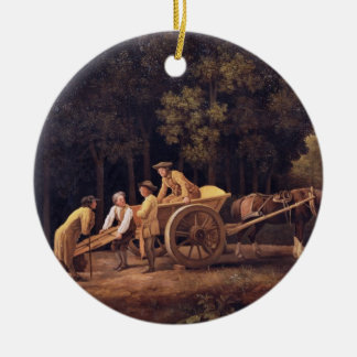 Labourers, 1781 (enamel on biscuit earthe round ceramic decoration