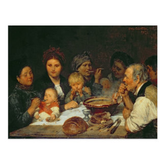 Labourers at a Table, Thueringen, 1875 Postcard