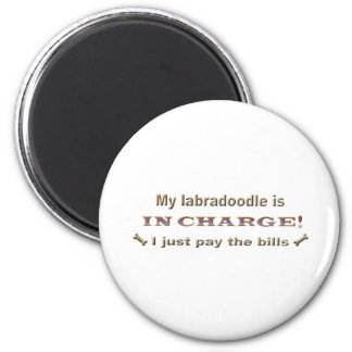 labradoodle 6 cm round magnet