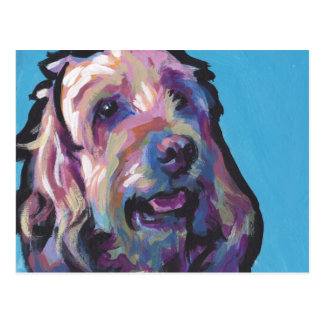 Labradoodle Dog fun bright pop art Postcard