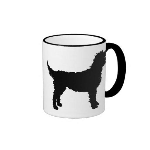 Labradoodle Dog (in black) Mugs