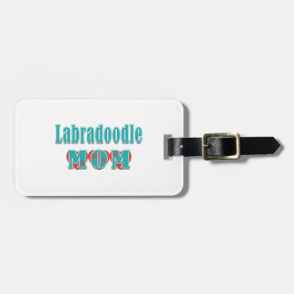 Labradoodle Dog Mom Teal Text Red Hearts Luggage Tag