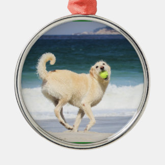 Labradoodle - Happy Day on the Beach Silver-Colored Round Decoration