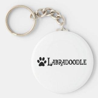 Labradoodle (pirate style w/ pawprint) basic round button key ring