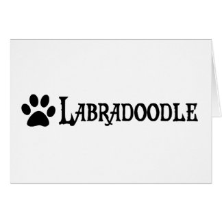 Labradoodle pirate style w pawprint greeting card