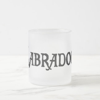 Labradoodle (pirate style w/ pawprint) frosted glass mug