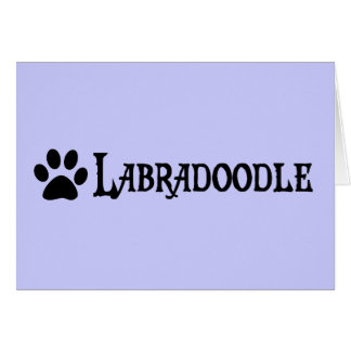 Labradoodle pirate style w pawprint greeting cards