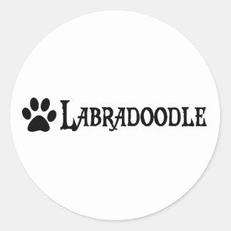Labradoodle (pirate style w/ pawprint) round sticker