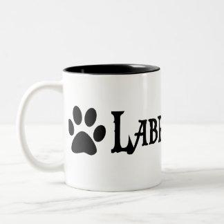 Labradoodle (pirate style w/ pawprint) Two-Tone mug