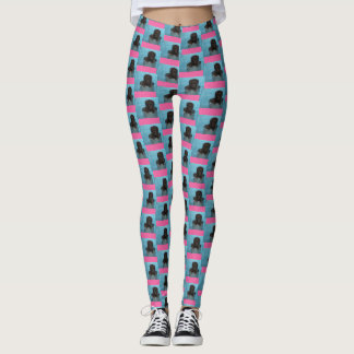 Labradoodle Puppy Leggings Pink and Blue