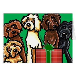 Labradoodle Rainbow Christmas Card