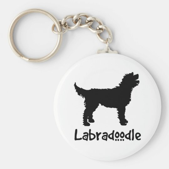 Labradoodle w/ Cool Text Basic Round Button Key Ring