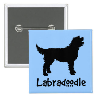 Labradoodle w/ Cool Text (in black) 15 Cm Square Badge