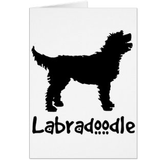 Labradoodle w Cool Text in black Card