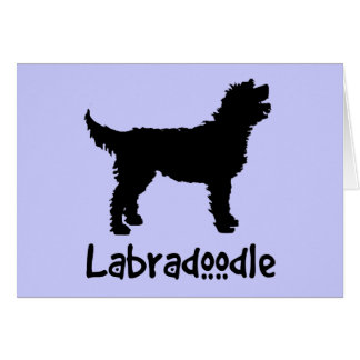 Labradoodle w Cool Text in black Cards
