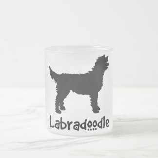 Labradoodle w/ Cool Text (in black) Frosted Glass Mug