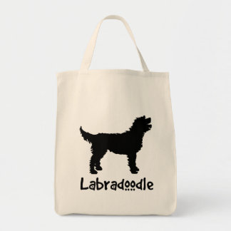 Labradoodle w/ Cool Text (in black) Grocery Tote Bag