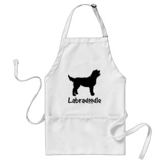 Labradoodle w/ Cool Text (in black) Standard Apron