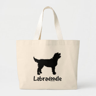 Labradoodle w/ Cool Text Large Tote Bag