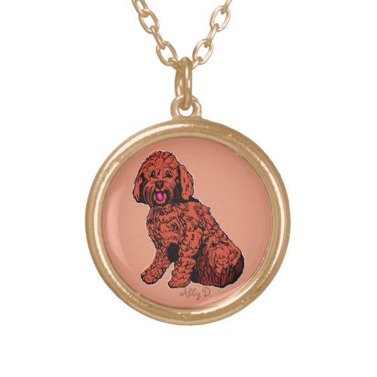 Labradoodle Warm Peach Necklace