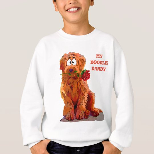 Labradoodle with a Rose Sweatshirt