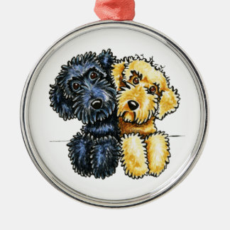 Labradoodles Black Yellow Lined Up Christmas Ornament