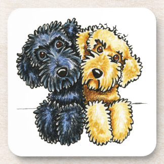 Labradoodles Black Yellow Lined Up Coaster