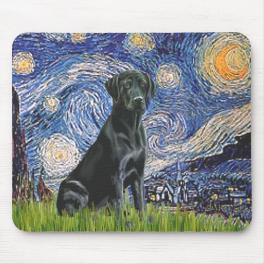 Labrador (black) - Starry Night Mouse Mat
