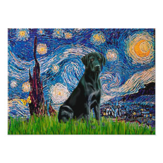 Labrador (black) - Starry Night Poster