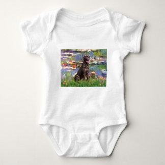 Labrador (Chcolate) - Lilies 2 Baby Bodysuit