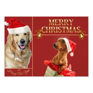 Labrador christmas-santa claus dog-Dachshund santa Card