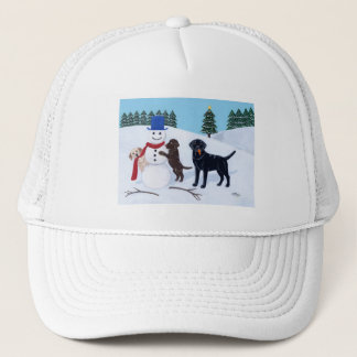 Labrador Christmas with Snowman Trucker Hat