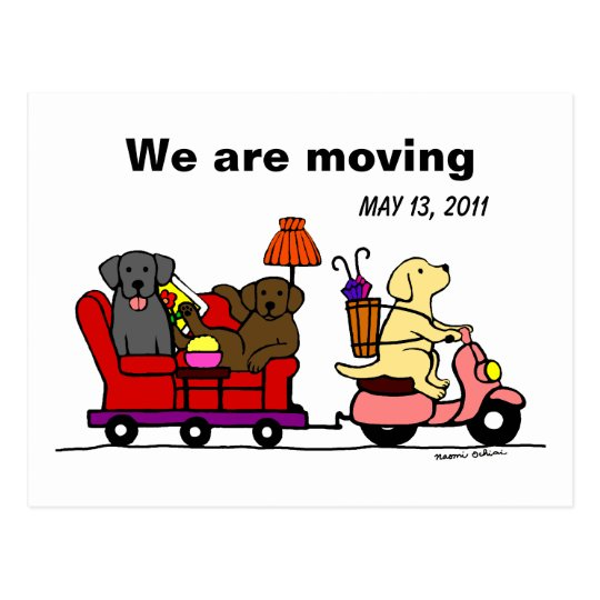 Labrador Dogs Cartoon Moving Annoucement Postcard