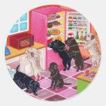 Labrador Kitchen Party Painting Round Sticker
