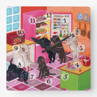 Labrador Kitchen Party Painting Square Wall Clock