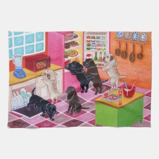 Labrador Kitchen Party Painting Tea Towel