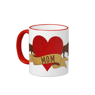 Labrador Mom [Tattoo style] Ringer Mug