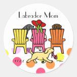 Labrador Mum at Poolside Round Stickers