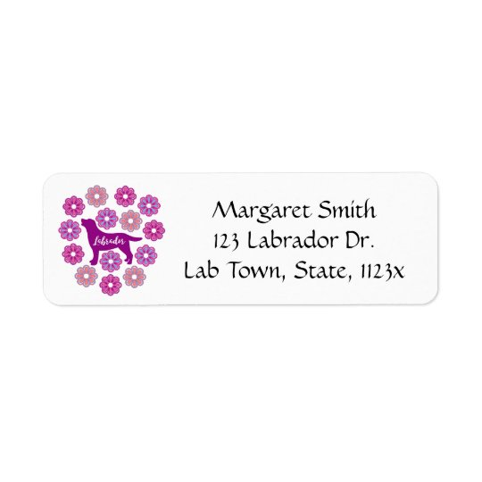 Labrador Outline and Purple Flowers Address Labels