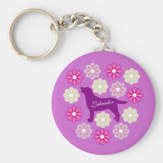 Labrador Outline and Purple Flowers Basic Round Button Key Ring