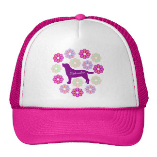 Labrador Outline and Purple Flowers Hats