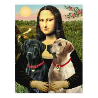 Labrador pair (B+Y) - Mona Lisa Postcard