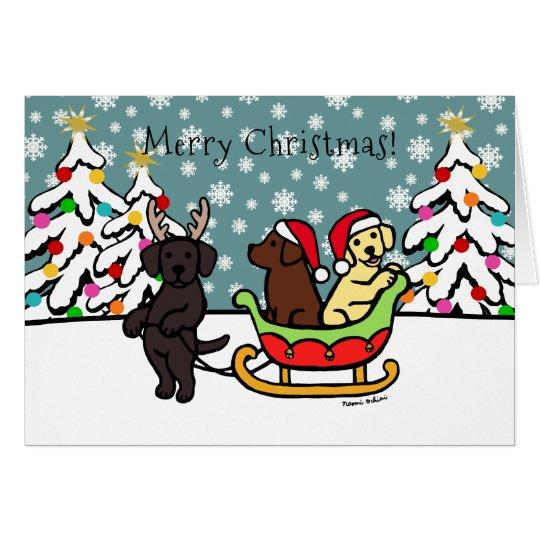 Labrador Puppies and Sleigh Christmas Card