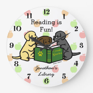 Labrador Puppies Reading Cartoon Large Clock