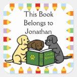 Labrador Puppies Reading Cartoon Square Sticker