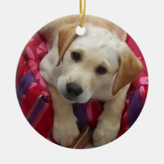Labrador Puppy Round Ceramic Decoration