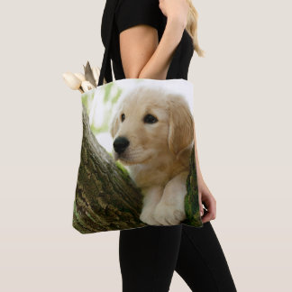 Labrador Puppy Sitting In A Woodland Setting Tote Bag