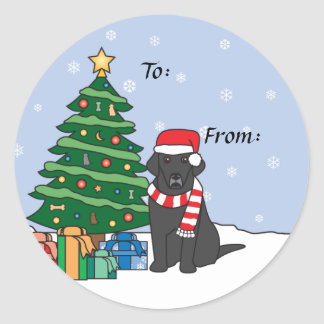 Labrador Retriever and Christmas Tree Classic Round Sticker